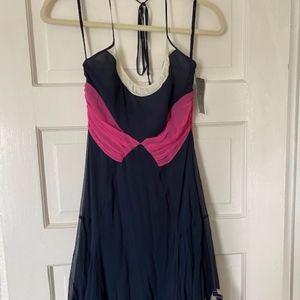 BCBG MAXAZRIA Navy Blue Halter Dress